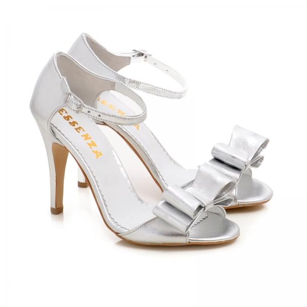Sandale din piele argintie, cu funde 1