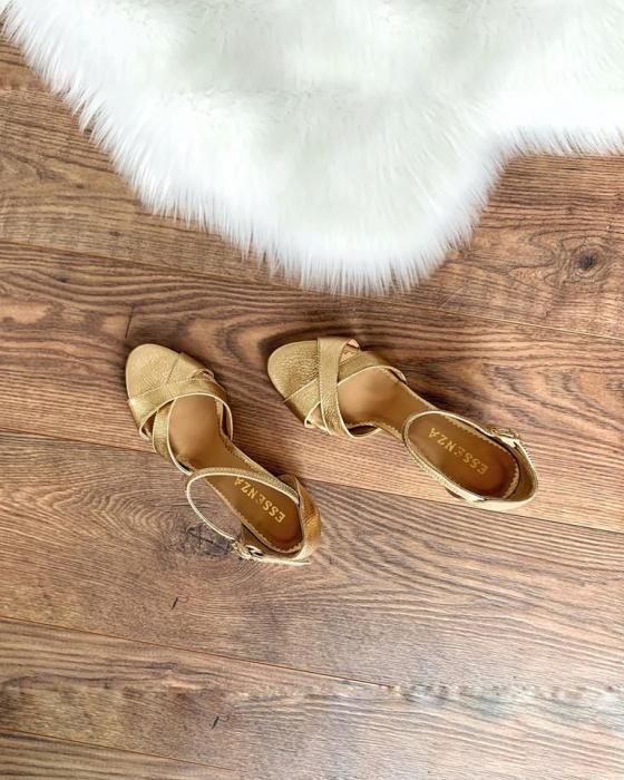 Sandale din piele aurie, cu toc gros 1