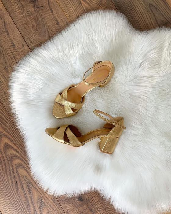 Sandale din piele aurie, cu toc gros 4