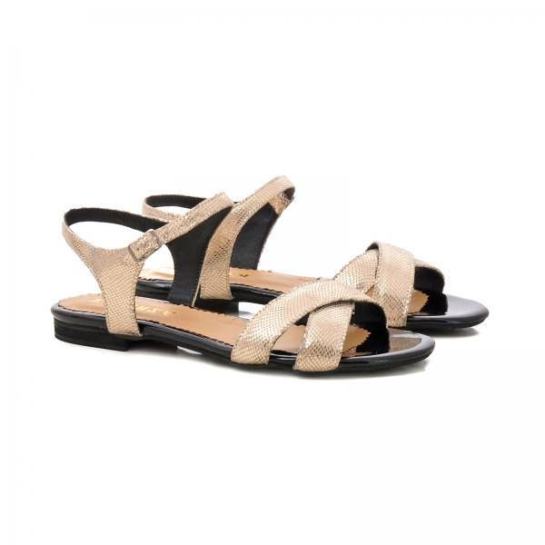 Sandale din piele aurie laserata 1