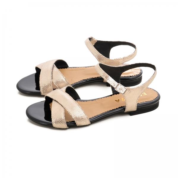 Sandale din piele aurie laserata 2