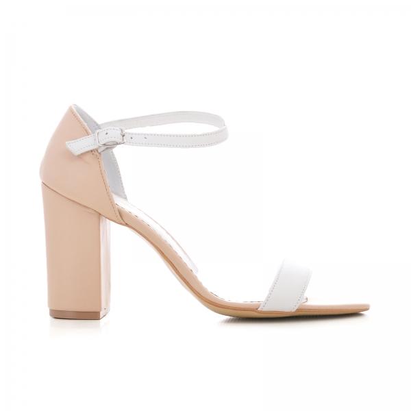 Sandale din piele bej si alba, cu toc gros [0]