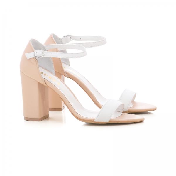 Sandale din piele bej si alba, cu toc gros [1]
