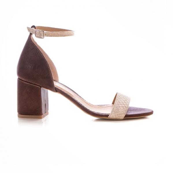 Sandale din piele cu textura de piele de sarpe si piele maron 0
