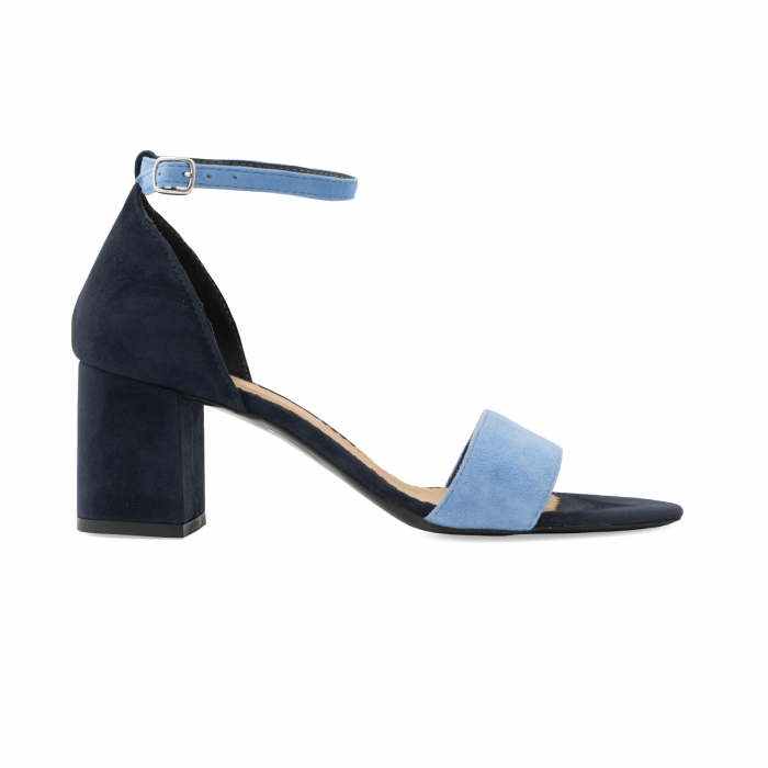 Sandale din piele intoarsa bleomaren si albatru seren, cu toc gros de 6cm 0