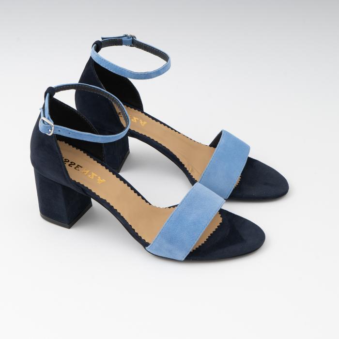 Sandale din piele intoarsa bleomaren si albatru seren, cu toc gros de 6cm 2