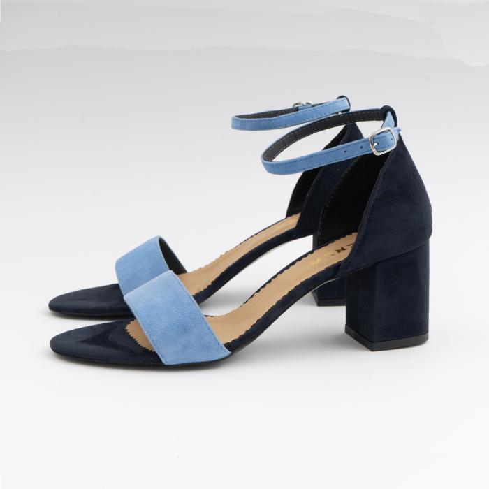 Sandale din piele intoarsa bleomaren si albatru seren, cu toc gros de 6cm 1