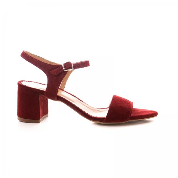 Sandale din piele intoarsa burgundy [0]