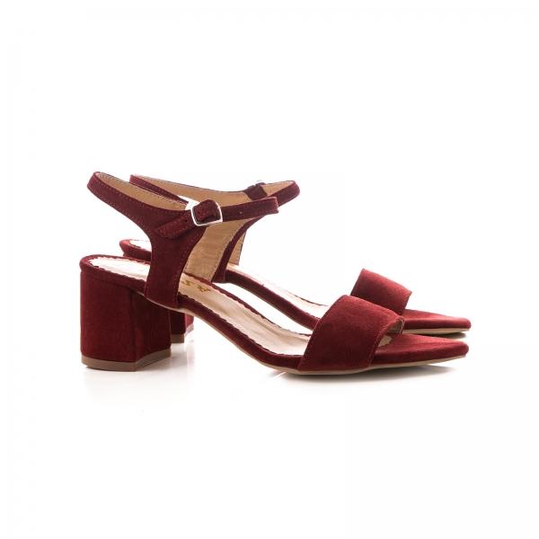 Sandale din piele intoarsa burgundy 1