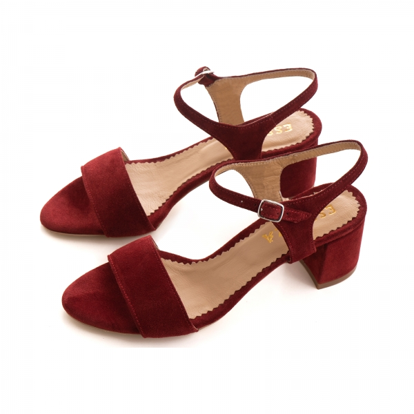Sandale din piele intoarsa burgundy 2