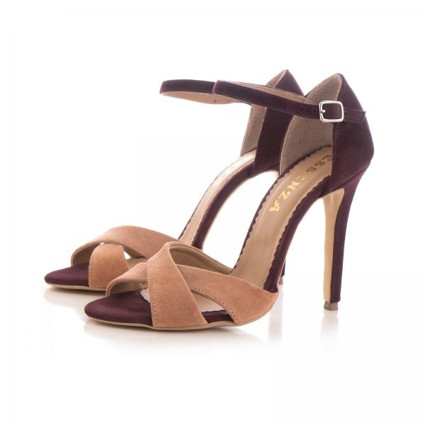 Sandale din piele intoarsa camoscio mov si roze piersica 1