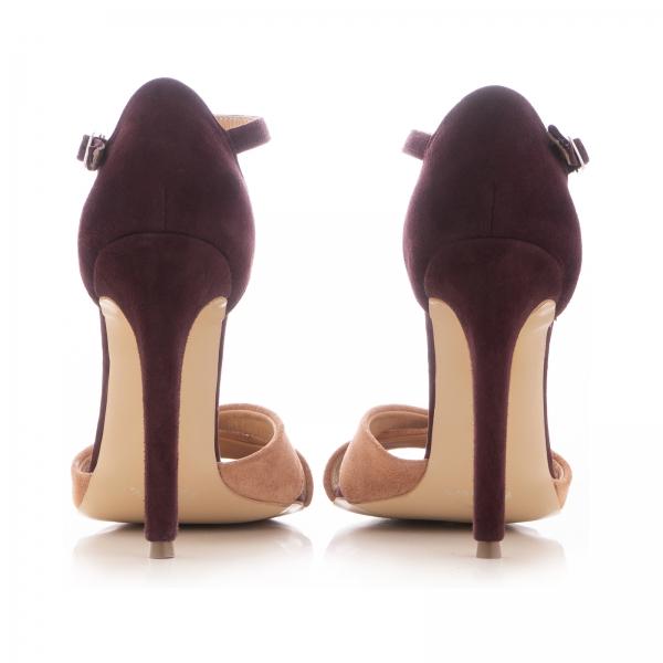 Sandale din piele intoarsa camoscio mov si roze piersica 3