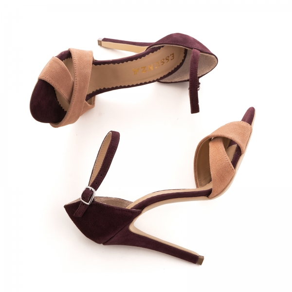 Sandale din piele intoarsa camoscio mov si roze piersica 4