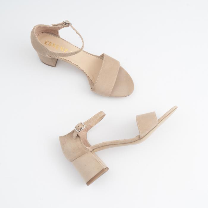 Sandale din piele intoarsa crem, cu toc patrat imbracat in piele. 2