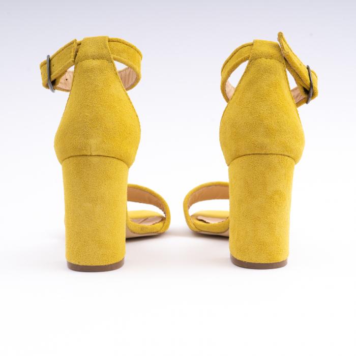 Sandale din piele intoarsa galbena, cu toc gros 4