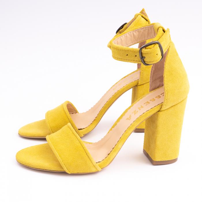 Sandale din piele intoarsa galbena, cu toc gros 1