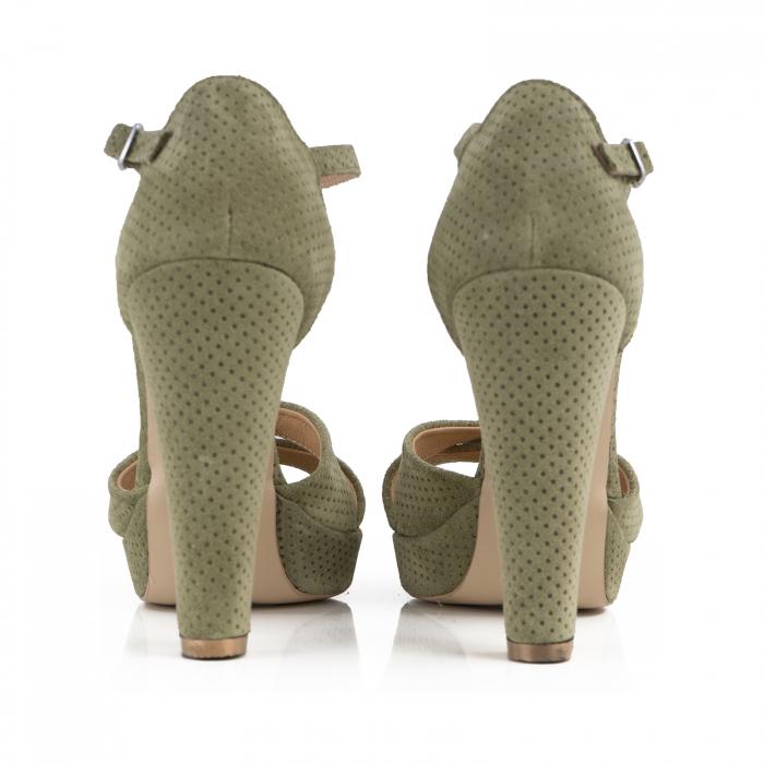 Sandale din piele intoarsa kaki cu perforatii 2