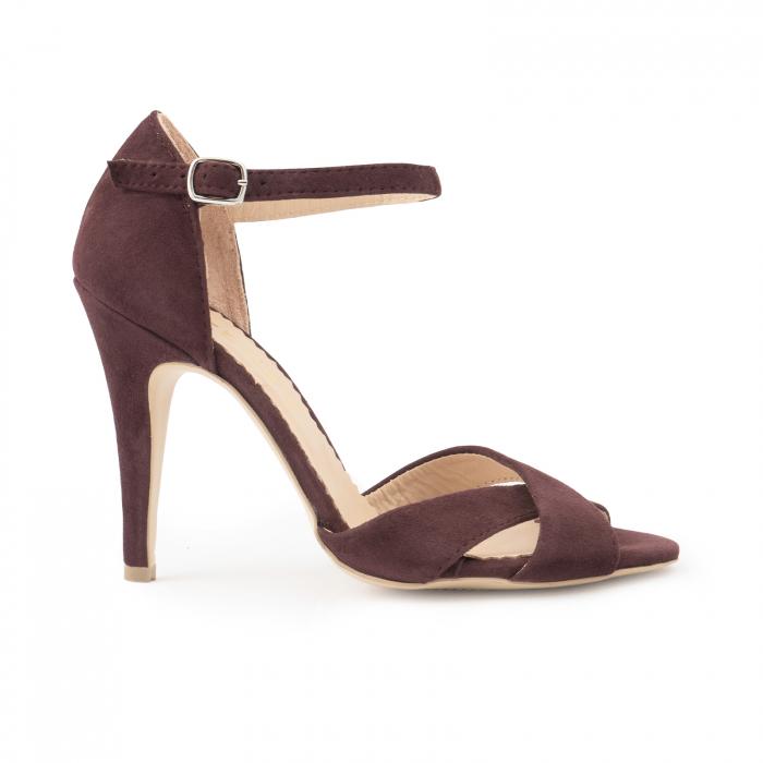 Sandale din piele intoarsa mov-pruna 0