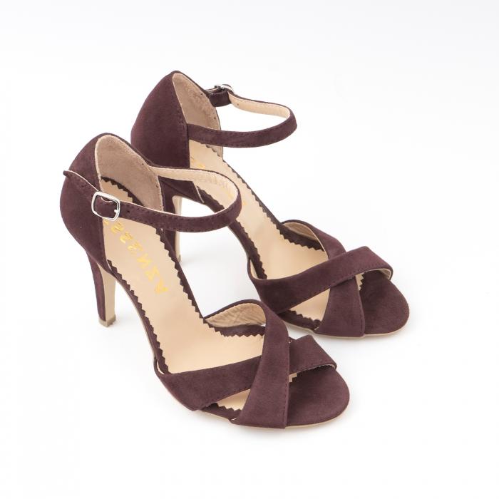 Sandale din piele intoarsa mov-pruna 2