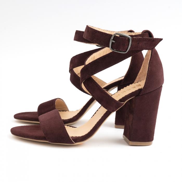Sandale din piele intoarsa mov-pruna 1