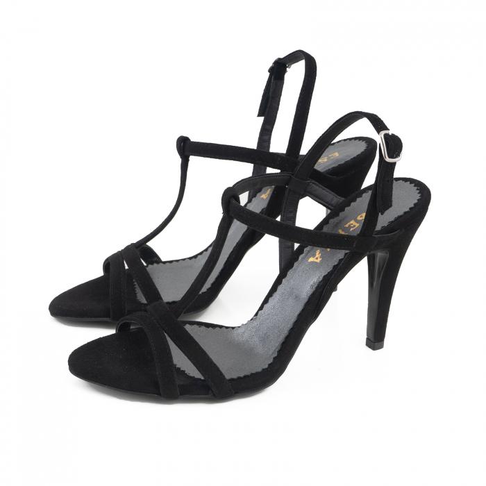 Sandale din piele intoarsa neagra 1