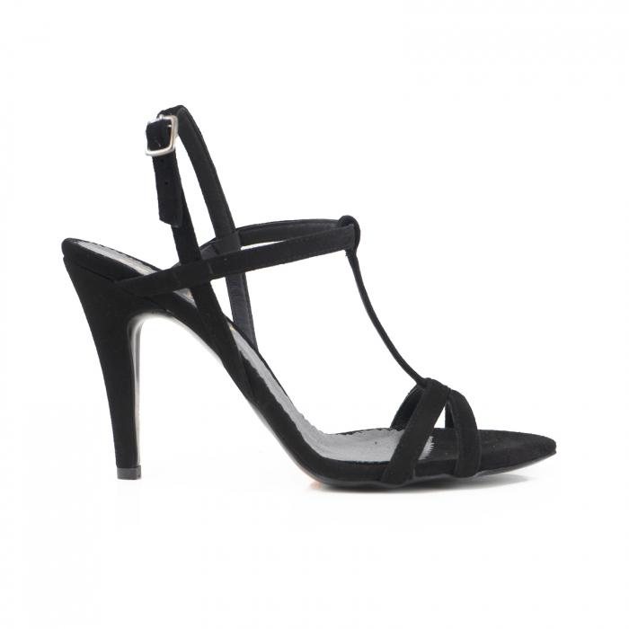 Sandale din piele intoarsa neagra 0