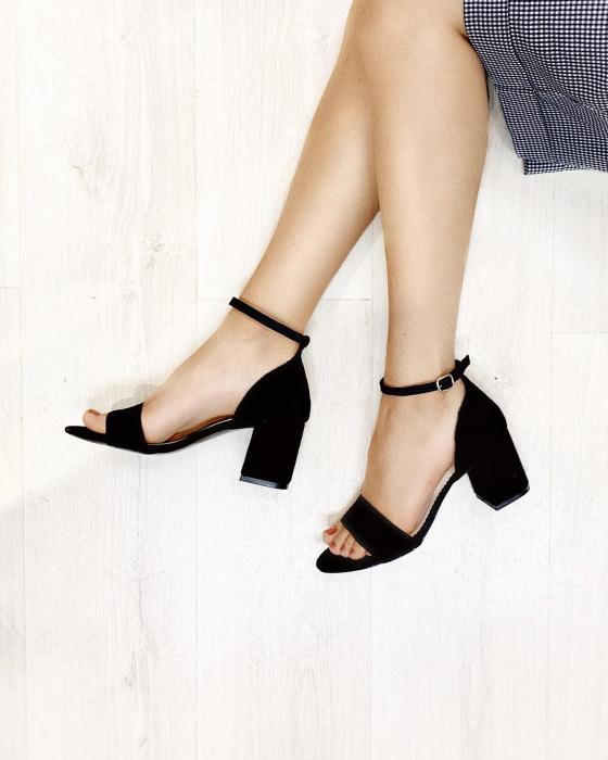Sandale din piele intoarsa neagra, cu toc gros. 8