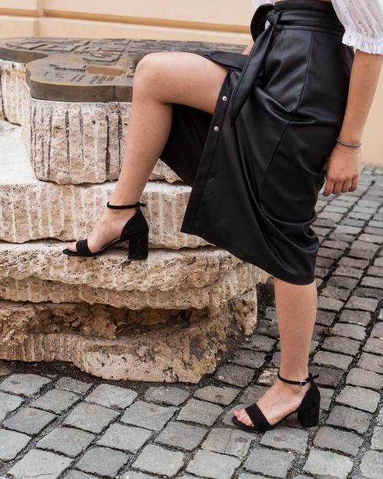 Sandale din piele intoarsa neagra, cu toc gros. 7