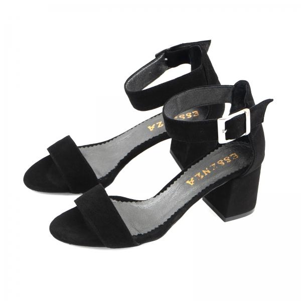 Sandale din piele intoarsa neagra, cu toc gros 1