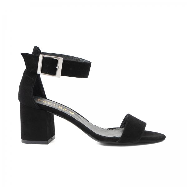 Sandale din piele intoarsa neagra, cu toc gros 0