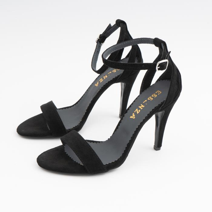 Sandale din piele intoarsa neagra, cu toc stiletto 1