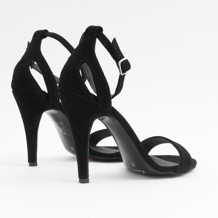 Sandale din piele intoarsa neagra, cu toc stiletto 3