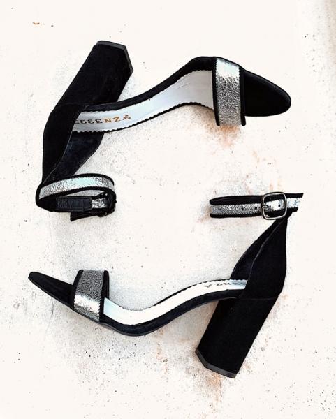 Sandale din piele intoarsa neagra si piele laminata argintie 0