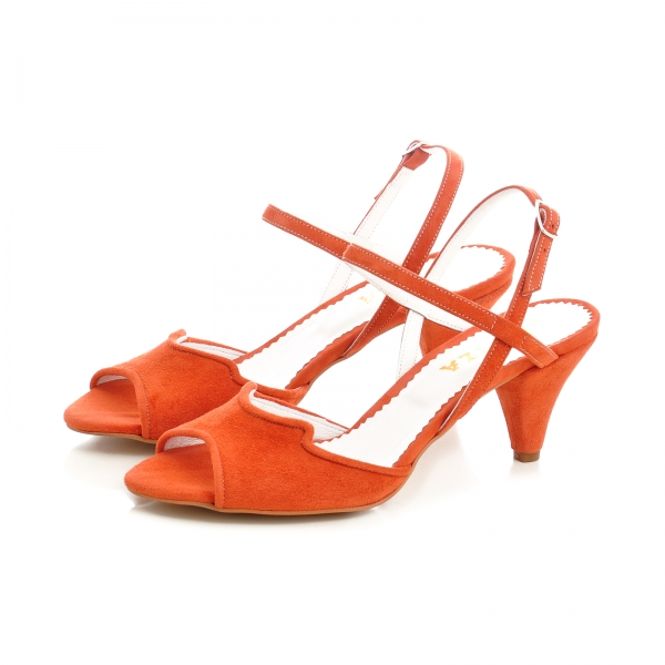 Sandale din piele intoarsa rosie, cu toc conic 1