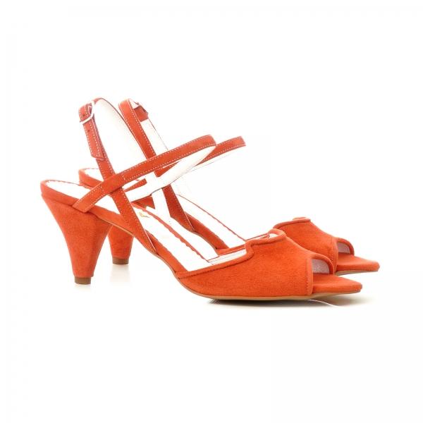 Sandale din piele intoarsa rosie, cu toc conic 2