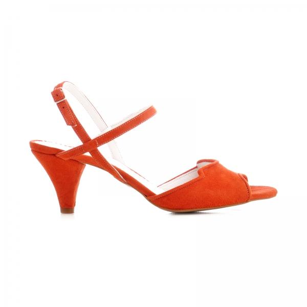 Sandale din piele intoarsa rosie, cu toc conic 0