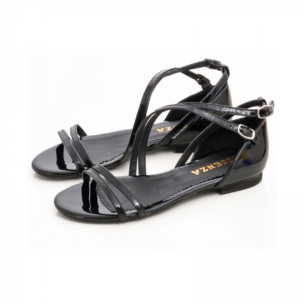 Sandale cu talpa joasa, din piele lacuita neagra 2