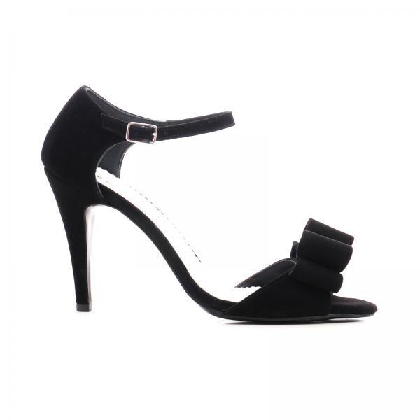 Sandale din piele intoarsa neagra, cu funde 0