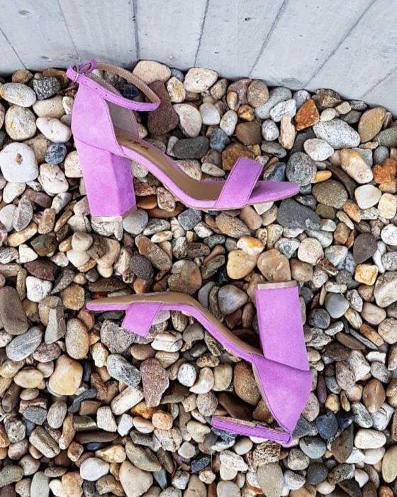 Sandale din piele intoarsa roz-lila, cu toc gros 0
