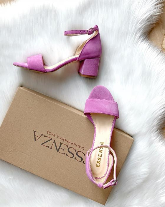 Sandale din piele intoarsa roz-lila, cu toc gros. 2