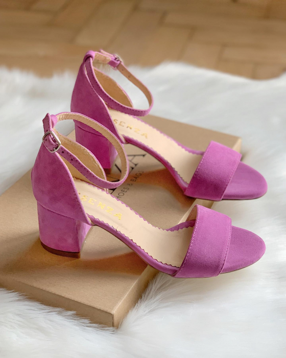 Sandale din piele intoarsa roz-lila, cu toc gros. 0