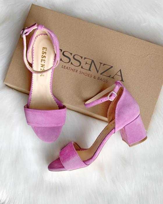Sandale din piele intoarsa roz-lila, cu toc gros. 1
