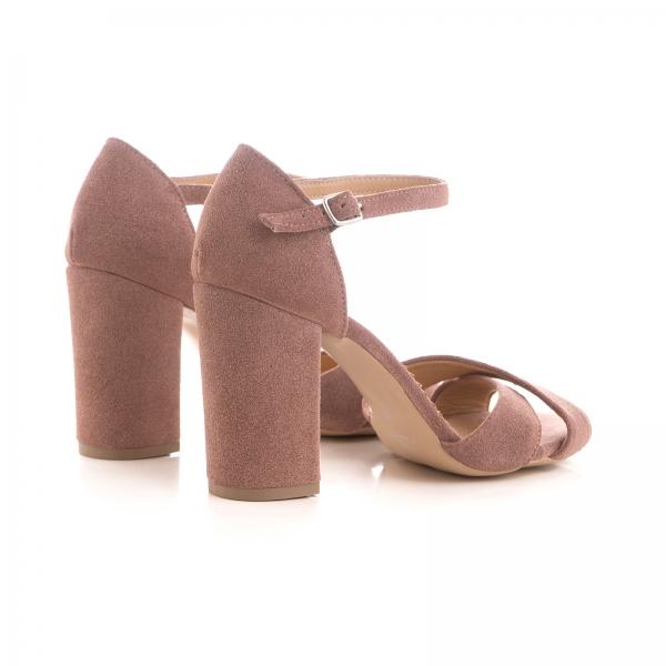 Sandale din piele intoarsa roz somon 2