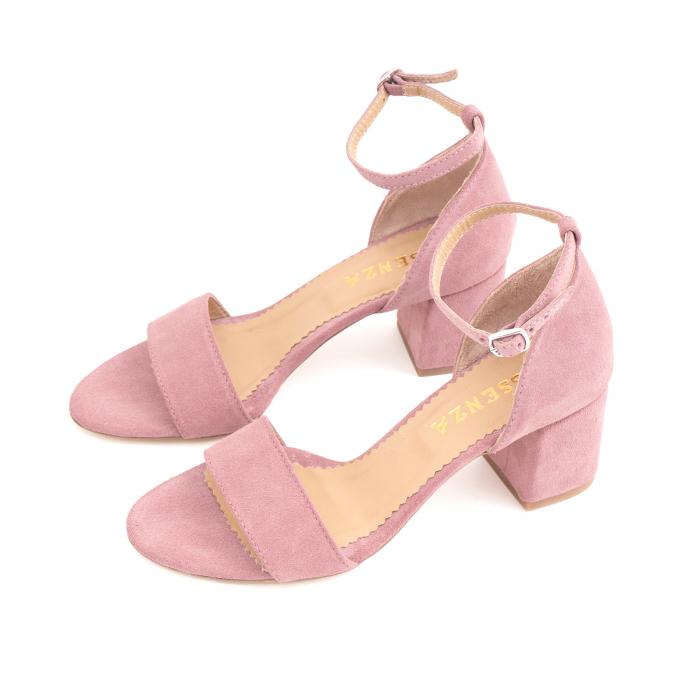 Sandale din piele intoarsa roz somon, cu toc gros. 1