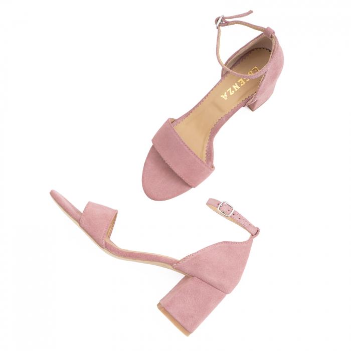 Sandale din piele intoarsa roz somon, cu toc gros. 2