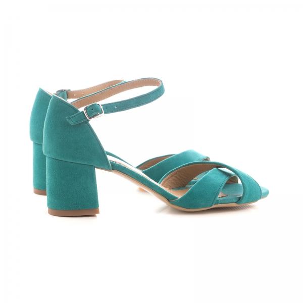 Sandale din piele intoarsa turquoise, cu toc gros 3