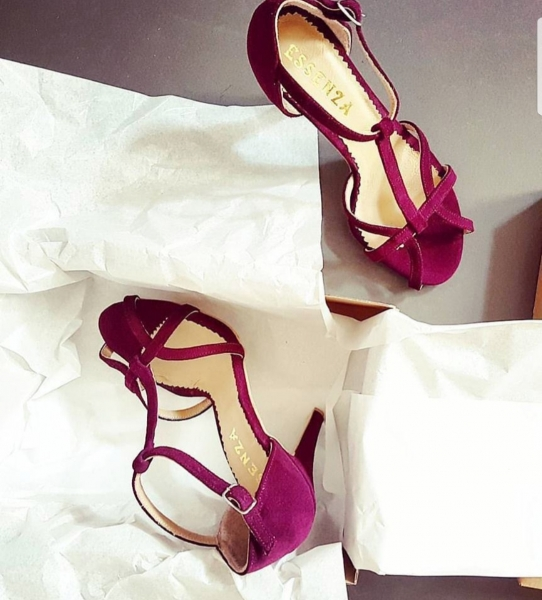 Sandale din piele intoarsa visinie 0