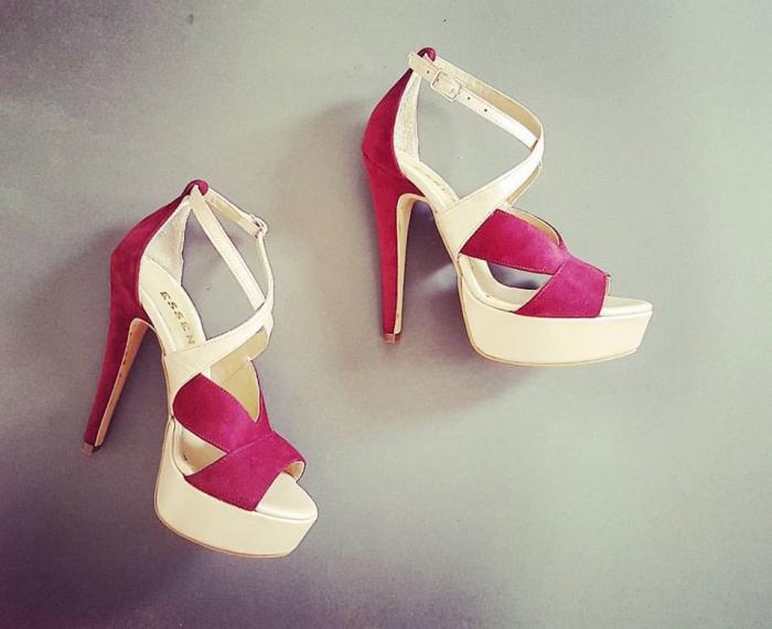 Sandale din piele intoarsa visinie si piele nude rose 0