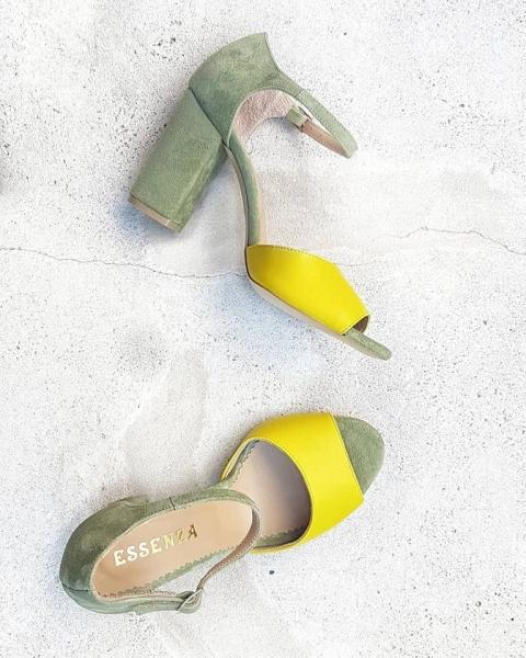 Sandale din piele kaki si galbena [0]