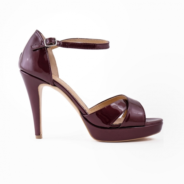 Sandale din piele lacuita visinie 0